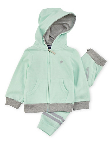 Toddler Girls Love Graphic Hoodie with Joggers Set,MINT,large