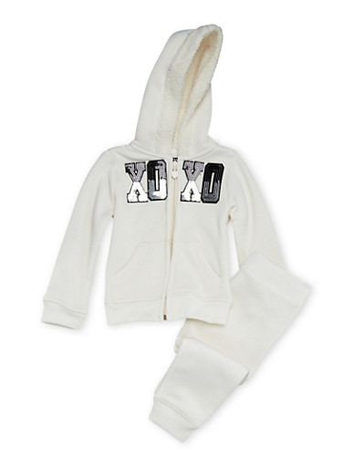 Toddler Girls Hoodie and Joggers Set,IVORY,large