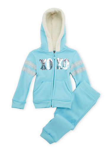 Toddler Girls Zip-Front Hoodie and Joggers Set with Glitter Graphic,TURQUOISE,large