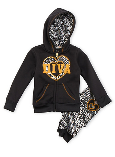Toddler Girls Blac Label Hoodie and Joggers with Diva Print,BLACK,large