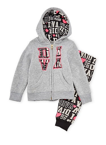 Toddler Girls Hoodie and Joggers Set with Diva Print,GREY,large