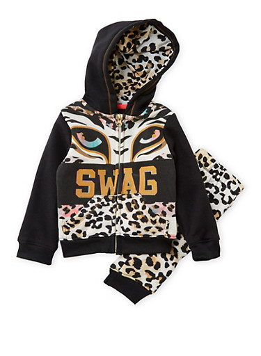 Toddler Girls Swag Graphic Hoodie with Sweatpants Set,BLACK,large
