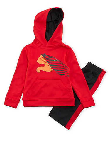 Toddler Boys Puma Zip Up Hoodie and Striped Pants with Logo,RED,large
