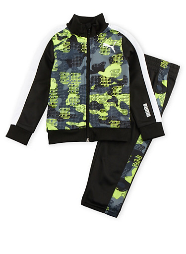 Toddler Boys Puma Tracksuit in Geo Print,BLACK,large