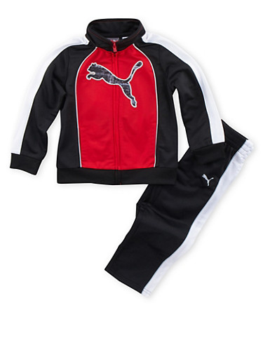 Toddler Boys Puma Color Block Tracksuit,RED,large