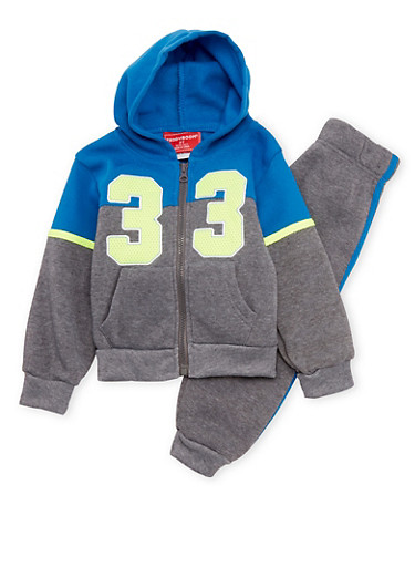 Toddler Boys Numbered Hoodie and Joggers Set,LIME,large