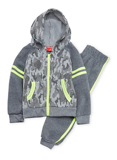 Toddler Boys Camo Hoodie and Joggers Set,CHARCOAL,large