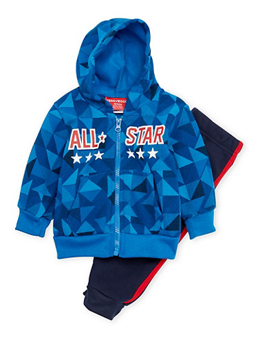 Toddler Boys Graphic Hoodie and Joggers Set,ROYAL,large