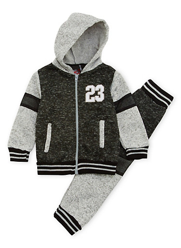 Toddler Boys Marled Knit Hoodie with Joggers Set,BLACK,large