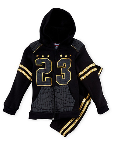 Toddler Boys Fleece Zip-Up Hoodie and Sweat Pants with Gold Foil Print,BLACK,large