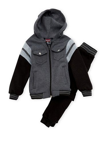 Toddler Boys Zip-Front Hoodie and Cargo Joggers Set,CHARCOAL,large