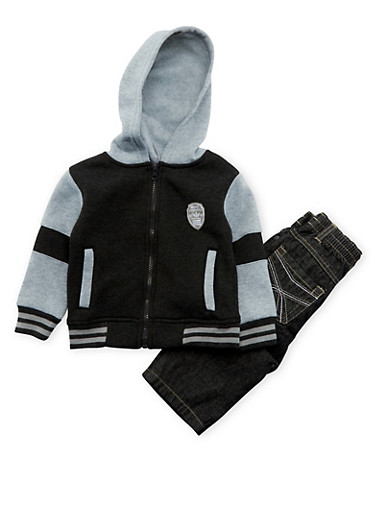Toddler Boys Hoodie with Jeans Set,CHARCOAL,large