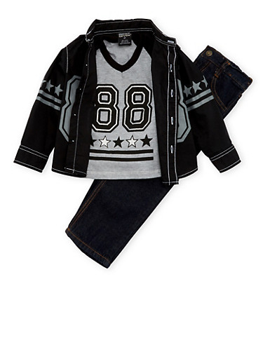 Toddler Boys Graphic Shirt and Tee with Jeans Set,BLACK,large