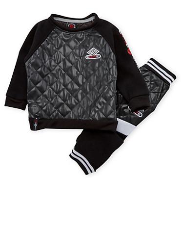 Toddler Boys Enyce Sweatshirt and Joggers Set,BLACK,large