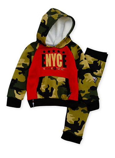 Toddler Boys Enyce Graphic Hoodie and Joggers Set,CAMOUFLAGE,large
