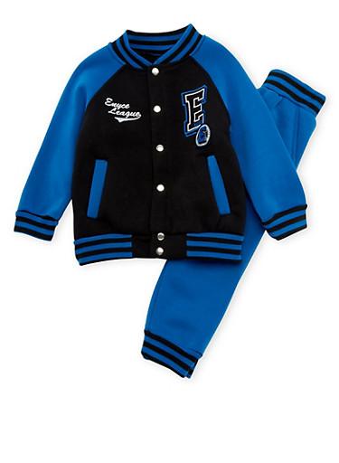Toddler Boys Enyce Varsity Jacket and Joggers Set,BLACK,large