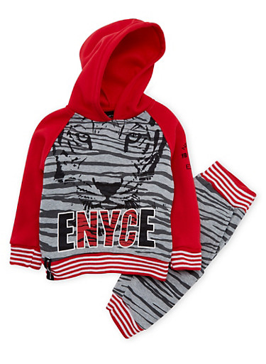 Toddler Boys Enyce Printed Hoodie and Joggers Set with Graphic,GREY,large