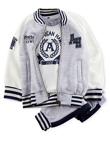 Toddler Boys Varsity Jacket and Graphic Tee with Joggers Set,GREY,large