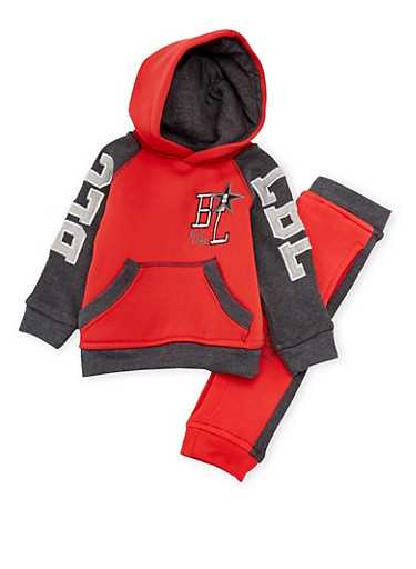 Toddler Boys Blac Label Color Block Hoodie and Joggers Set,RED,large