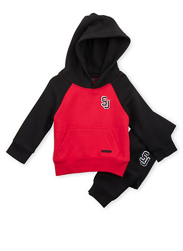 Toddler Boys Sean John Raglan Hoodie and Joggers,RED,large