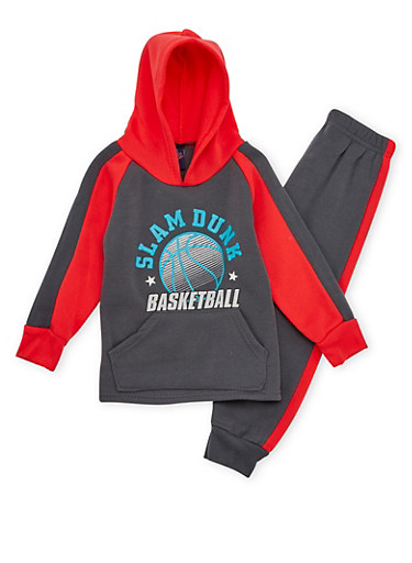 Toddler Boys Hoodie and Joggers with Slam Dunk Print,CHARCOAL,large
