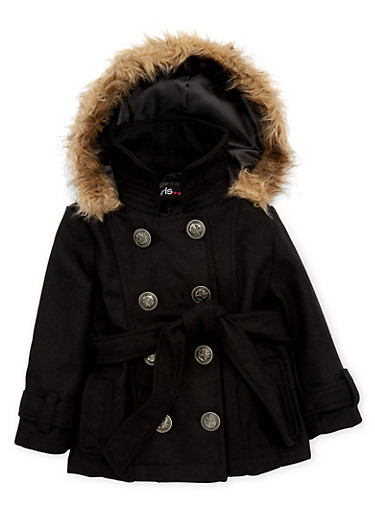 Toddler Girls Coat with Faux Fur Trimmed Hood,BLACK,large