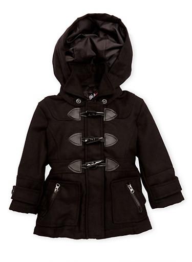Toddler Girls Toggle Coat,BLACK,large