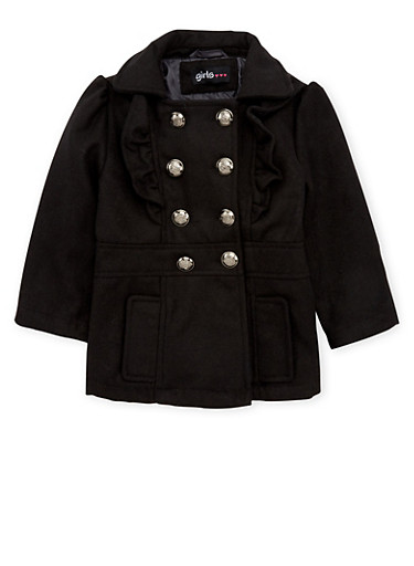 Toddler Girls Peacoat with Ruffle Trim,BLACK,large