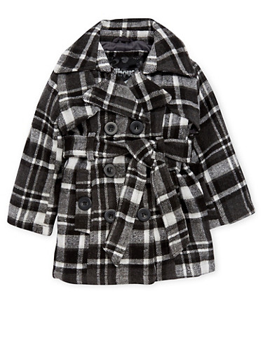 Toddler Girls Belted Plaid Peacoat,BLACK,large