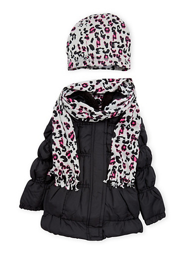 Toddler Girls Puffer Coat with Leopard Scarf and Beanie Hat,BLACK,large