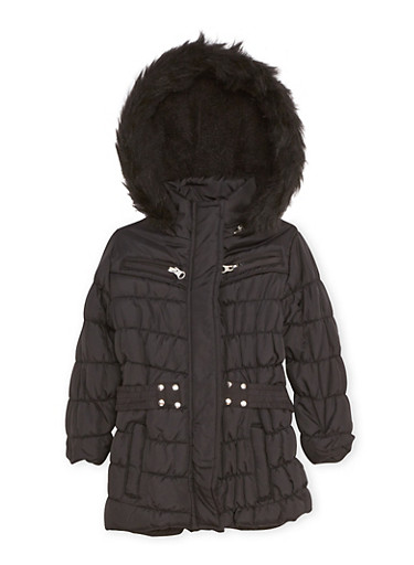 Toddler Girls Quilted Puffer Coat with Faux Fur Trim,BLACK,large
