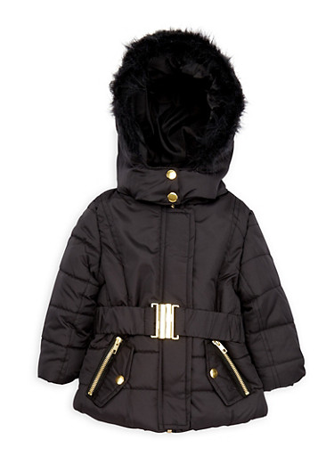 Toddler Girls Belted Puffer Coat with Faux Fur Hood,BLACK,large