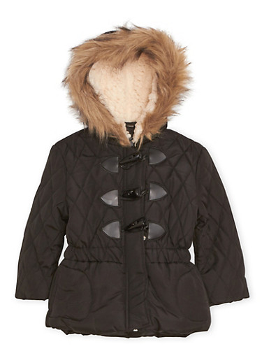 Toddler Girls Hooded Puffer Coat with Faux Fur,BLACK,large