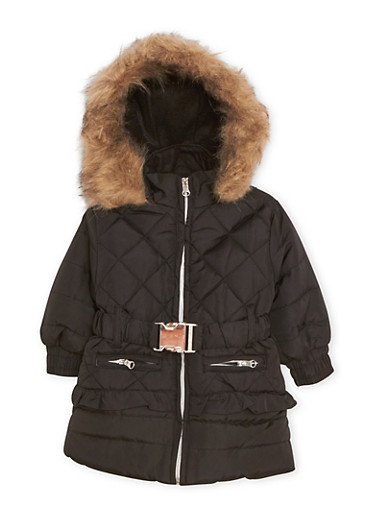 Toddler Girls Hooded Puffer Coat with Faux Fur Trim,BLACK,large