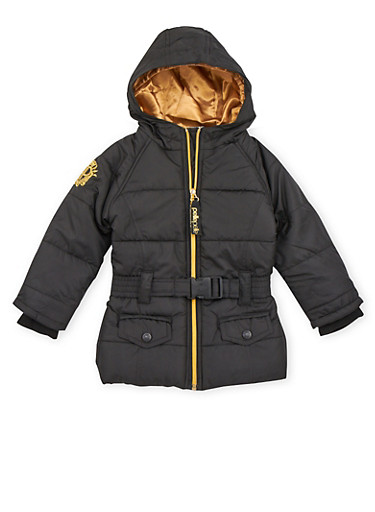 Toddler Girls Hooded Puffer Coat with Belt,BLACK,large