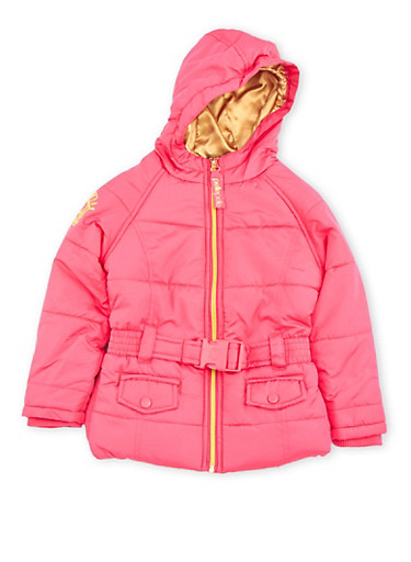 Toddler Girls Belted Puffer Jacket with Hood,FUCHSIA,large