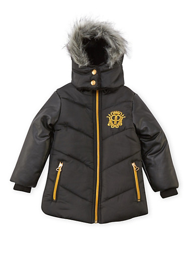 Toddler Girls Pelle Pelle Long Hooded Puffer Coat,BLACK,large