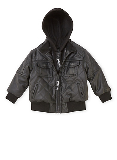 Toddler Boys Pelle Pelle Quilted Bomber Jacket,BLACK,large