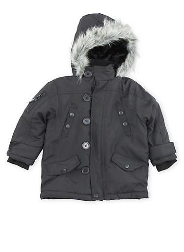 Toddler Boys Pelle Pelle Parka Jacket with Faux Fur Hood,BLACK,large