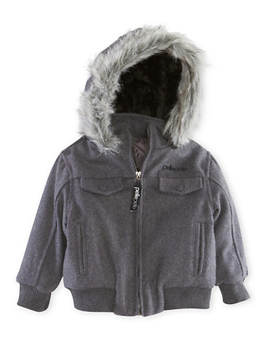 Toddler Boys Pelle Pelle Jacket with Faux Fur Trim,GREY,large