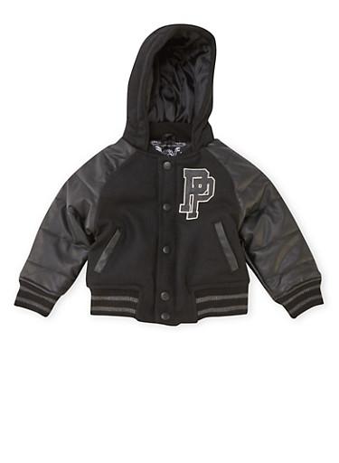 Toddler Boys Pelle Pelle Hooded Varsity Jacket,BLACK,large