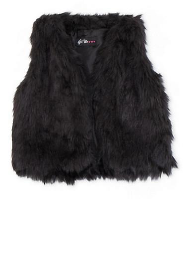 Toddler Girls Faux Fur Vest,BLACK,large