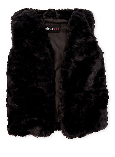 Toddler Girls Plush Fur Vest,BLACK,large