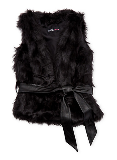 Toddler Girls Faux Fur Vest with Faux Leather Belt,BLACK,large