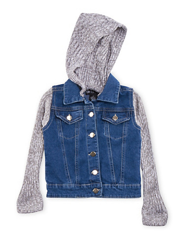 Toddler Girls Denim Jacket with Sweater Knit Sleeves and Hood,GRAY,large