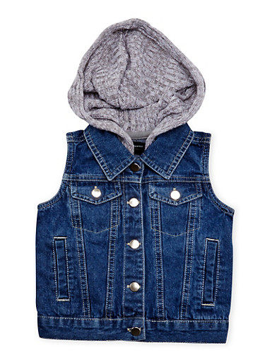 Toddler Girls 2T-6 Denim Vest with Marled Knit Hood,GRAY,large