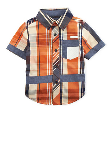 Toddler Boys Sean John Button-Up Shirt,NAVY,large
