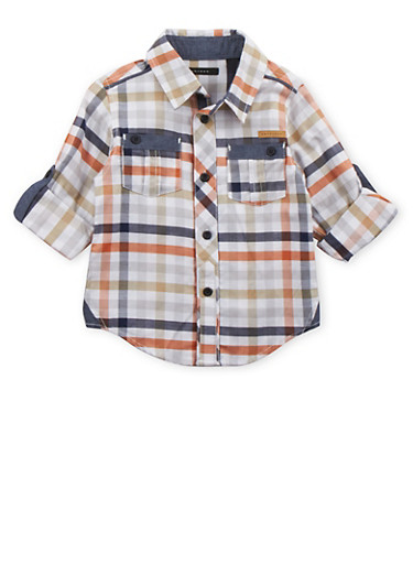 Toddler Boys Sean John Button Down Shirt in Multicolored Gingham Print,IVORY,large