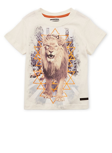 Toddler Boys Sean John Crew Neck T-Shirt with Lion in the City Print,IVORY,large