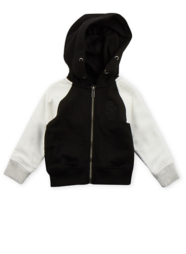 Toddler Boys Sean John Zip Up Hoodie with Contrast Sleeves,BLACK,large